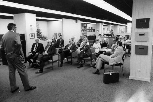 Company-shorr-packaging-history-1970s-sales-meeting-employees